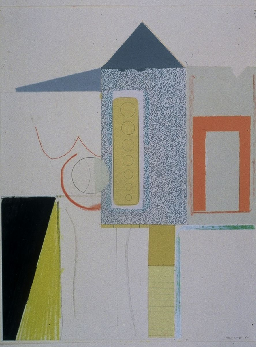 "The CLUBHOUSE  1978 Berkeley 14 x 11"" ,  collage and var media on paper"