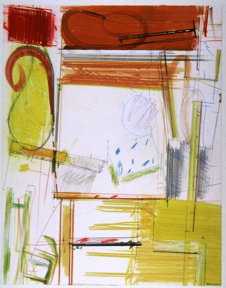"""My DRAFTING BOARD   , Ithaca NY 1982   19  x 15""""    , oil etc on paper"""
