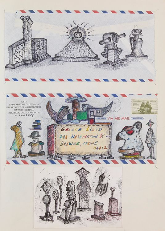 Page 24: DRAWINGS by Joseph SLUSKY , sculptor, on US mail envelope and 3 x 5 card , affixed to scketchbook page