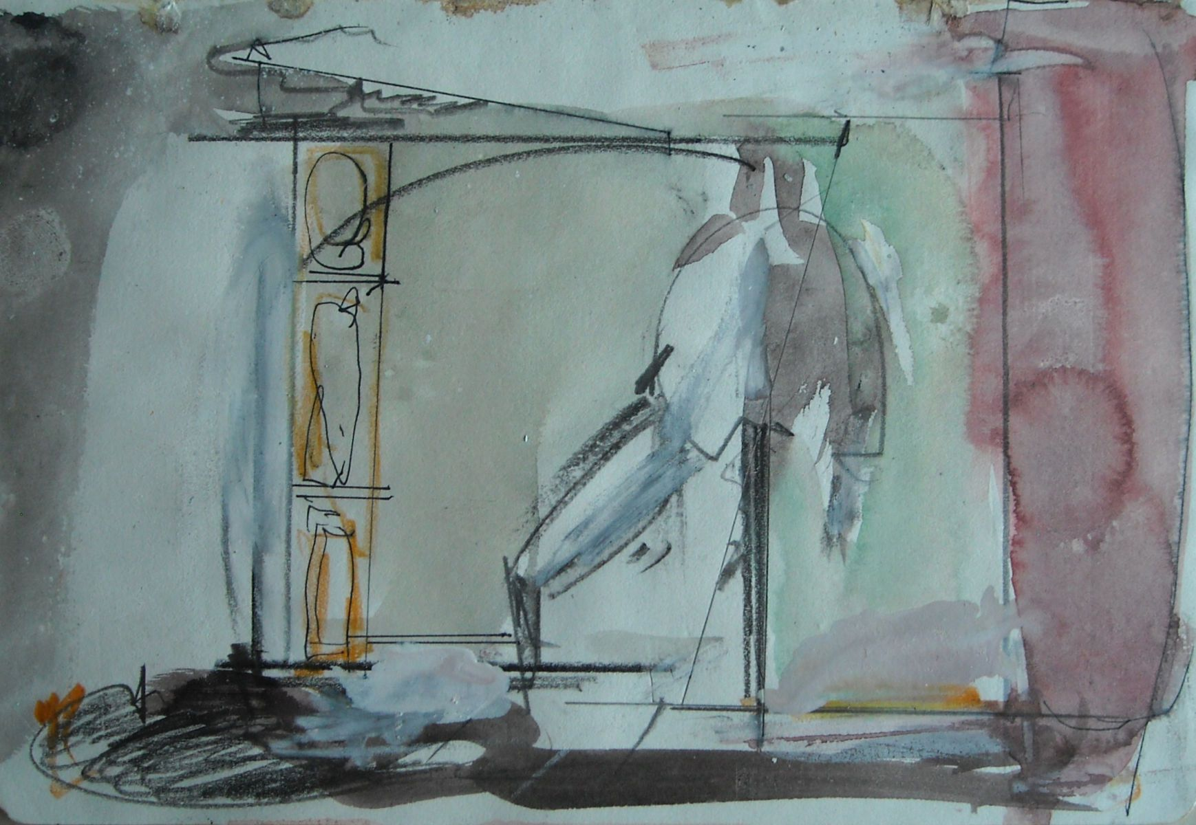 "INTERIOR w Standing Figure  2002 Rome 5.5 . 8""   , wc from sketchbook"