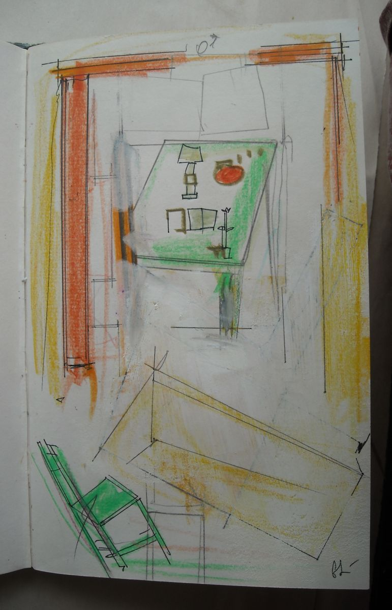 STUDIO   INTERIOR w GREEN TABLE     1983    Bangor ME from sketchbk
