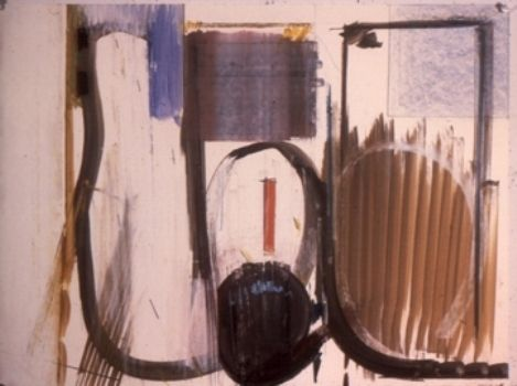 STILL LIFE w   BLACK BALL     1982    Middletown CT   oil etc on paper