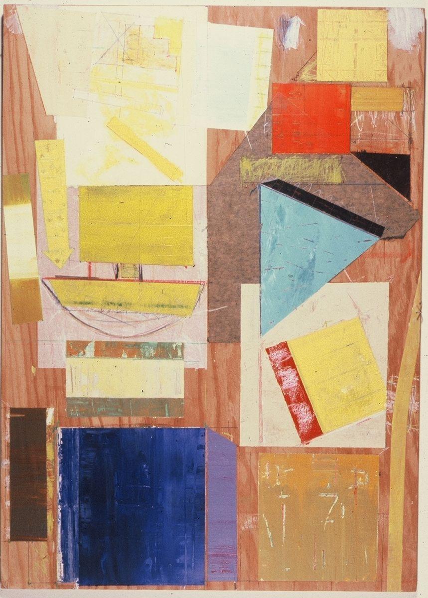 "VERTICAL HARBOR HONG KONG    1982    San Francisco    and Ithaca   NY  33 x 24"",  acrylic and paper on plywood  collection Celeste Shin  , San Francisco"