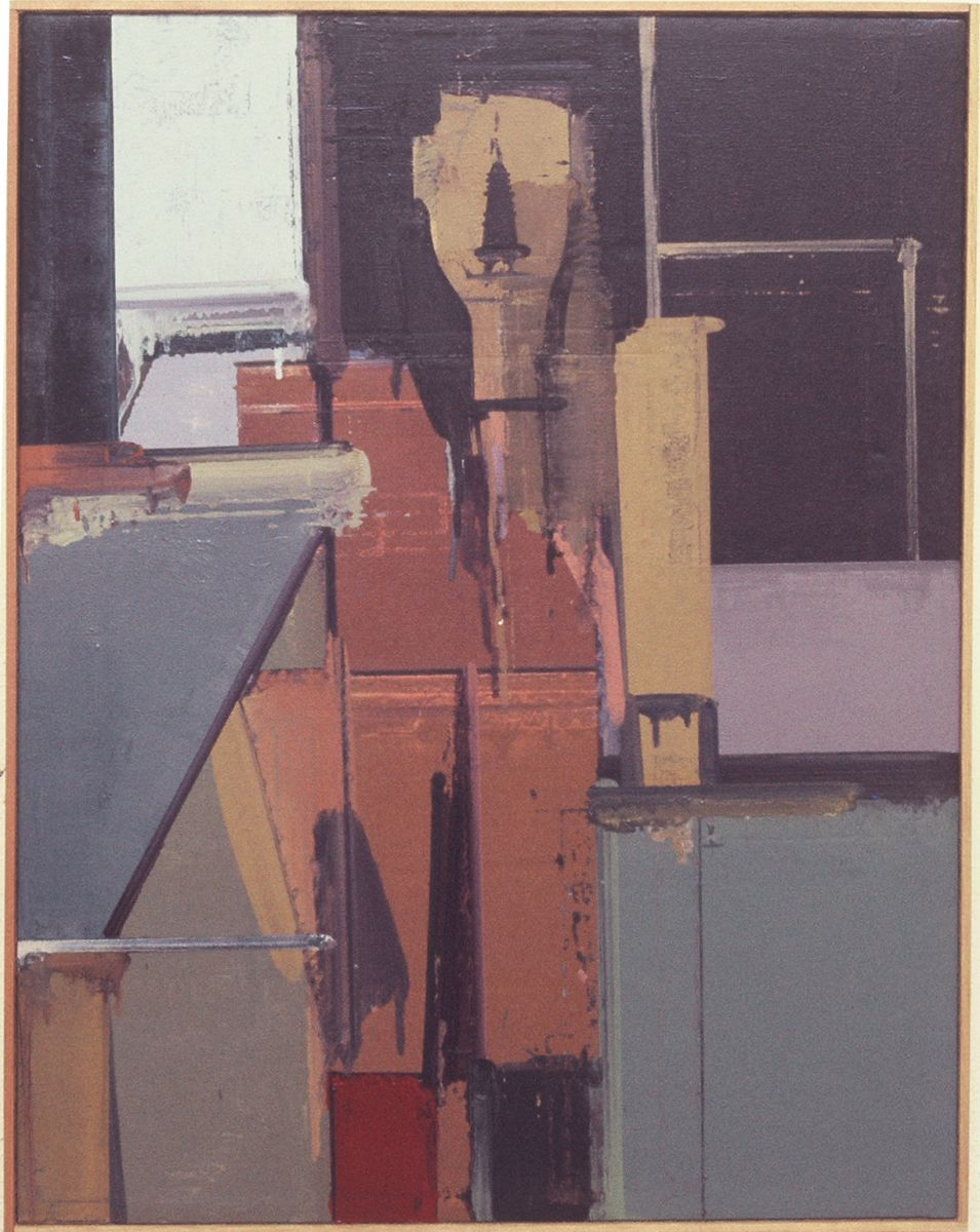 "STANDING SELF PORTRAIT   1974-5 Berkeley 32 x 25""  , oil on canvas collection Daniel and Hilary Goldstine, Berkeley"