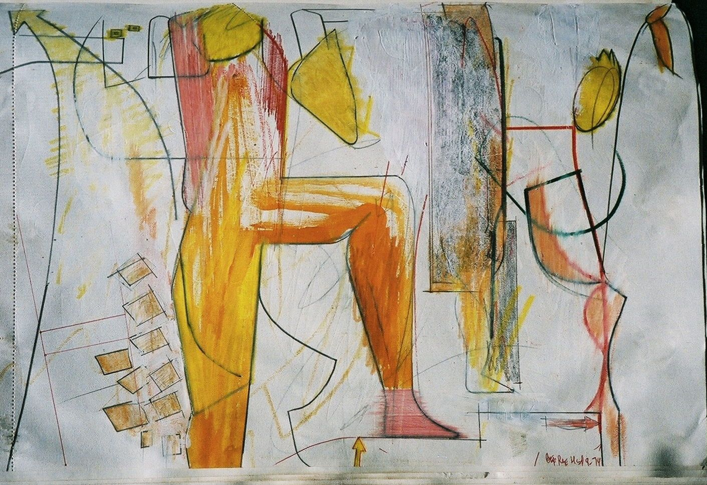 Composition w Standing Figure and Plant    1979  S Francisco fr SKETCHBK  , approx page size   11 x 14""