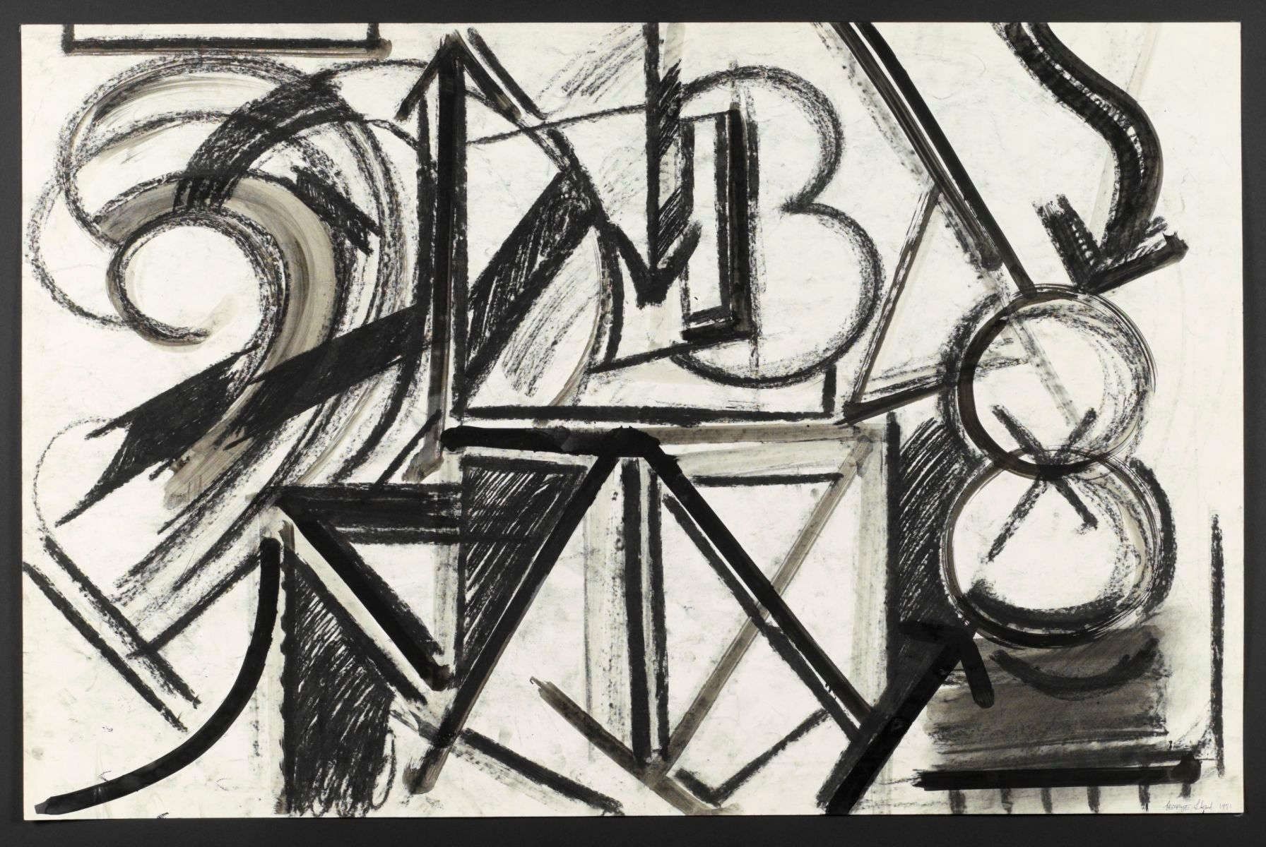 "NUMBER '9'    1971 Berkeley 26 x 40"" ,  ink and charcoal on paper private collection NYC"