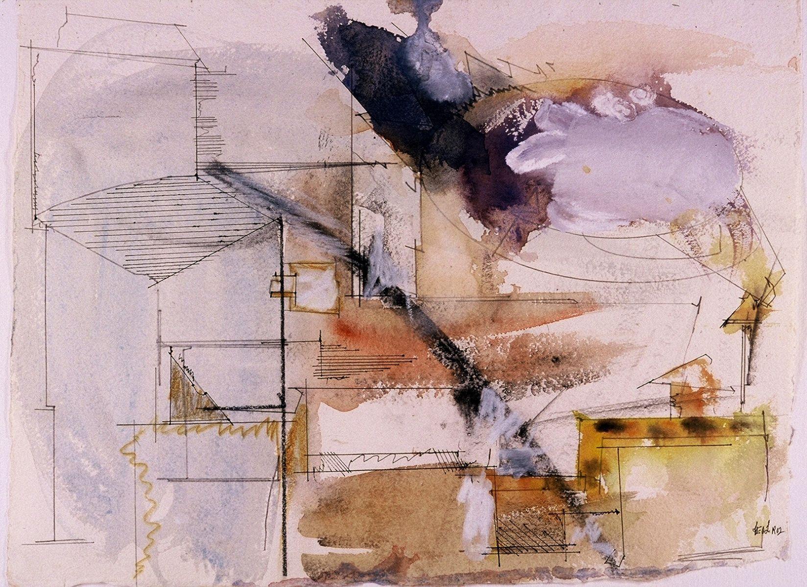 """PAESAGGIO ROMANO   con CIELO  TEMPESTOSO  2002    Academia Americana  Roma  11 x 15""""    , watercolor on  paper"""