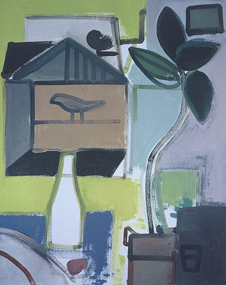 "STILL LIFE w BIRD CAGE and MILK BOTTLE  1975, Berkeley 32 x 26"" , oil on canvas"
