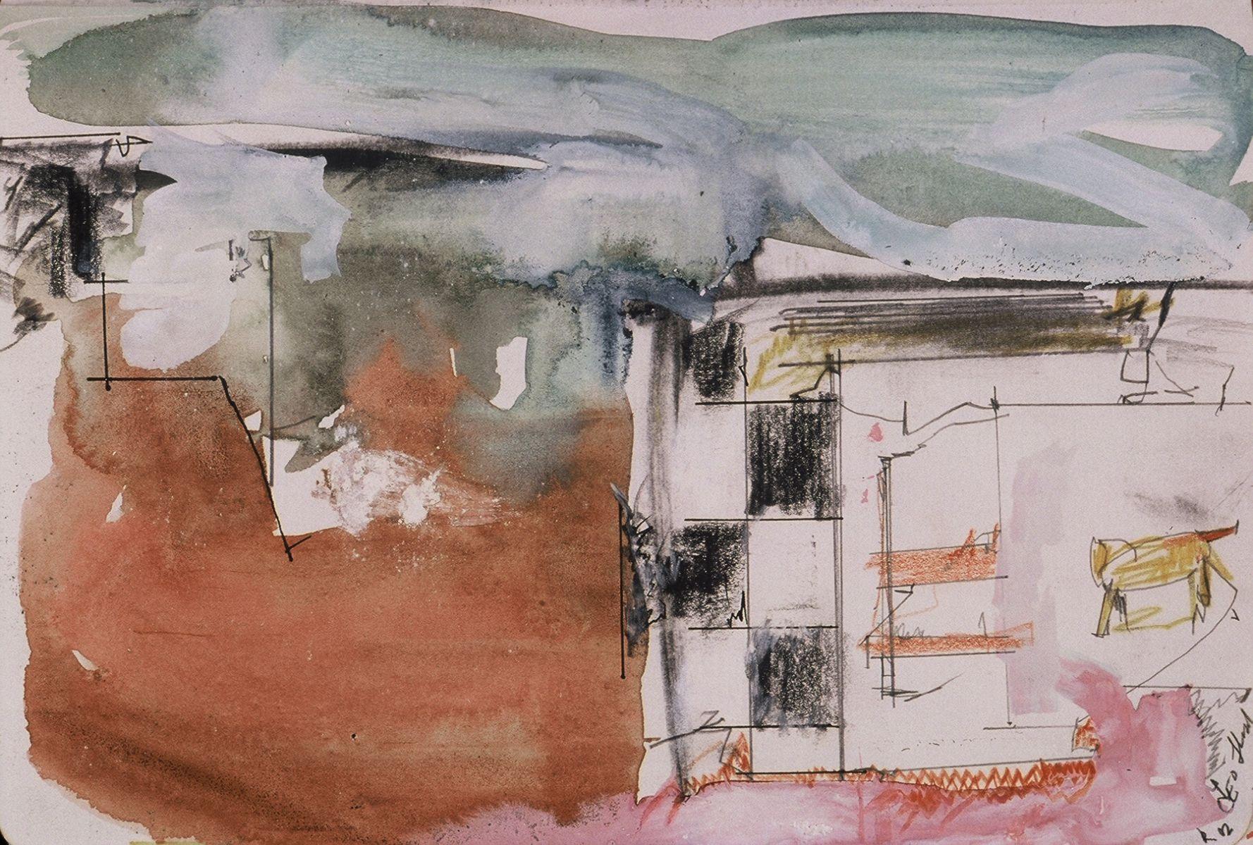 """Paesaggio Romano con Gatto  2002  Rome 5.5 . 8""""   , wc from sketchbook"""