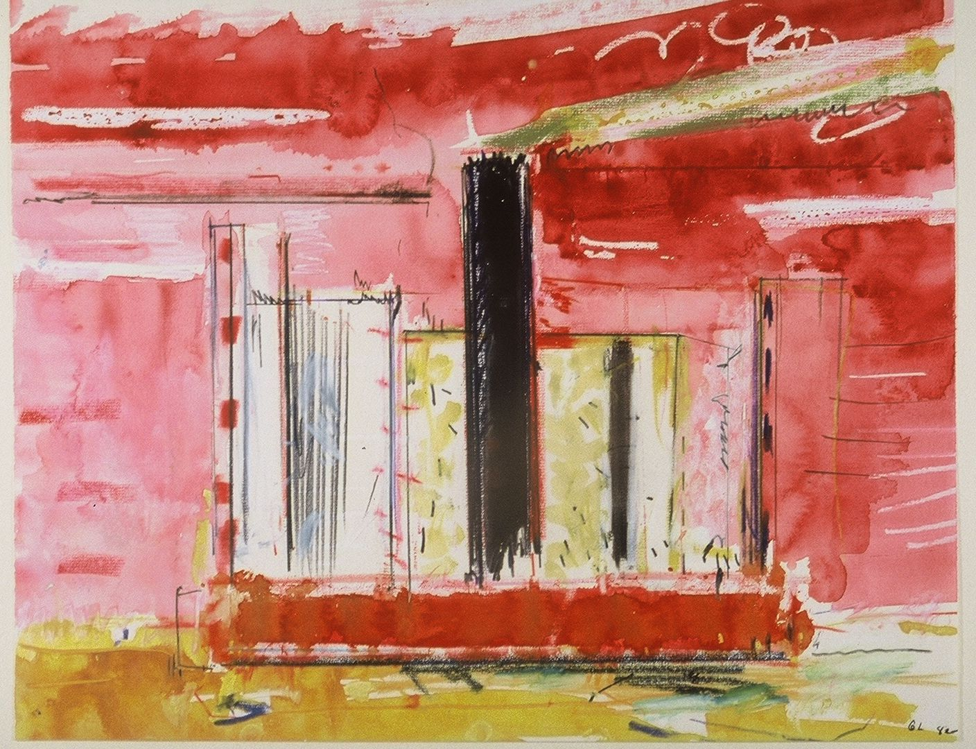 "RED BARGE      , Ithaca NY      1982 15 x 19"" ,    watercolor  etc on laid paper"