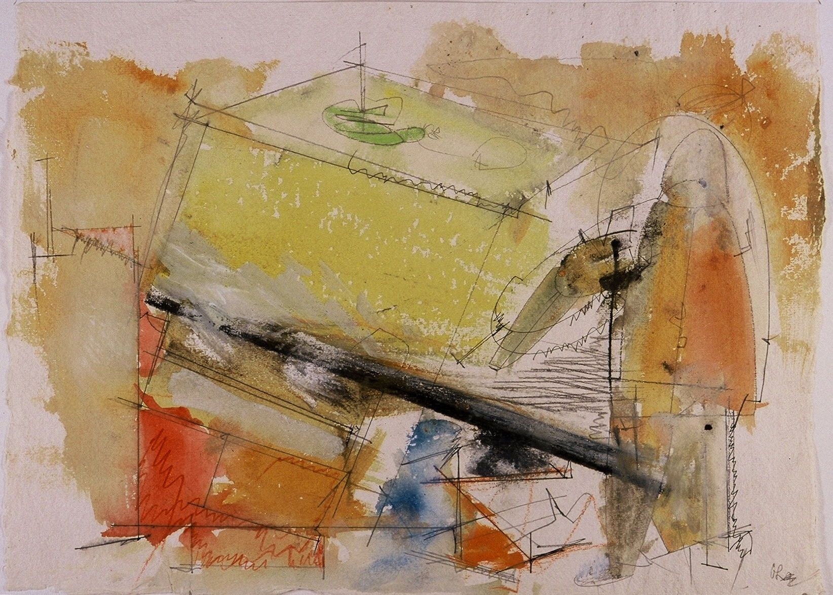 "Composition w SINKING STRUCTURE and FIGURE , a PAINTER 2005  ,  11 x 15"" ,     watercolor on Indian  watercolor paper"