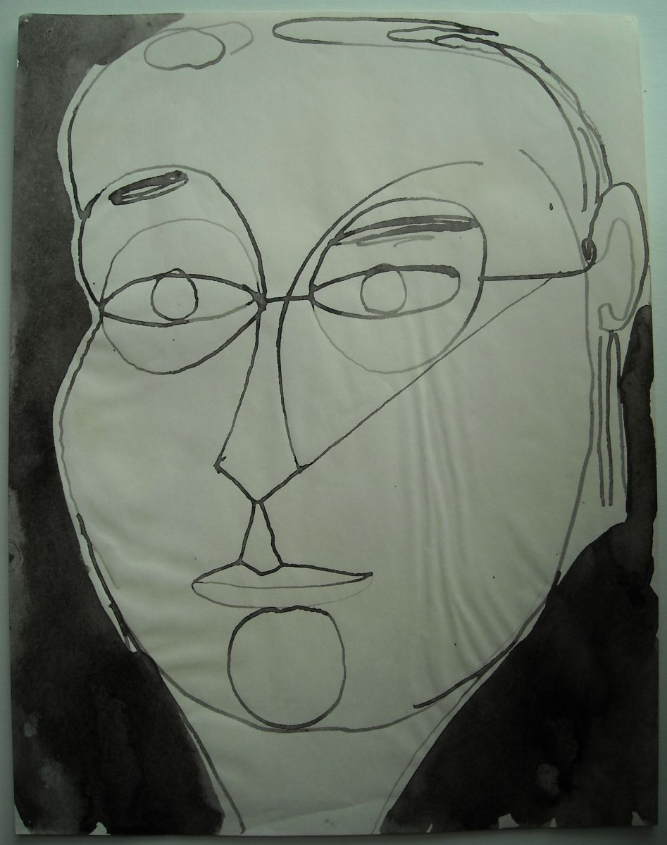 "SELF PORTRAIT , Eugene OR  1975 11 x 8.5""  , ink on paper"