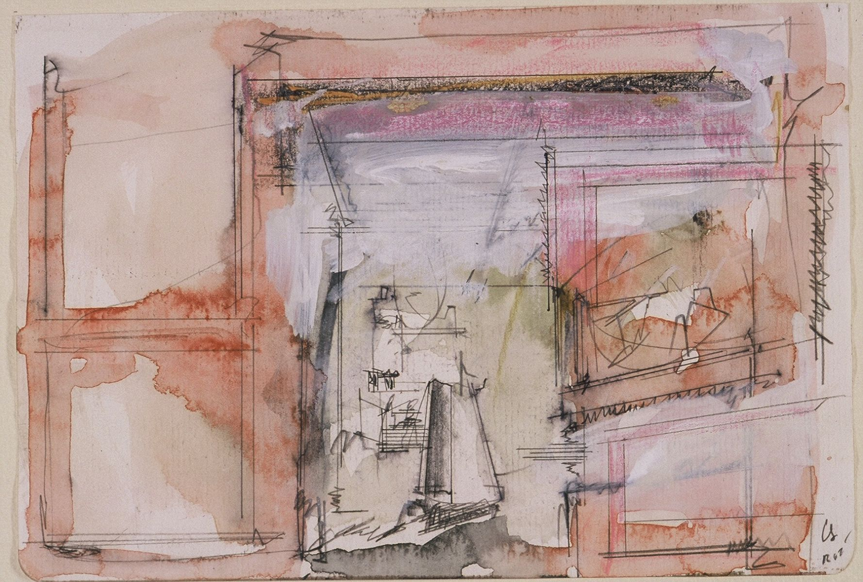 "VIew thru Arch of Constantine to Meta Sudens and Colossus of Nero  2002  Rome 5.5 . 8""   , wc from sketchbook"