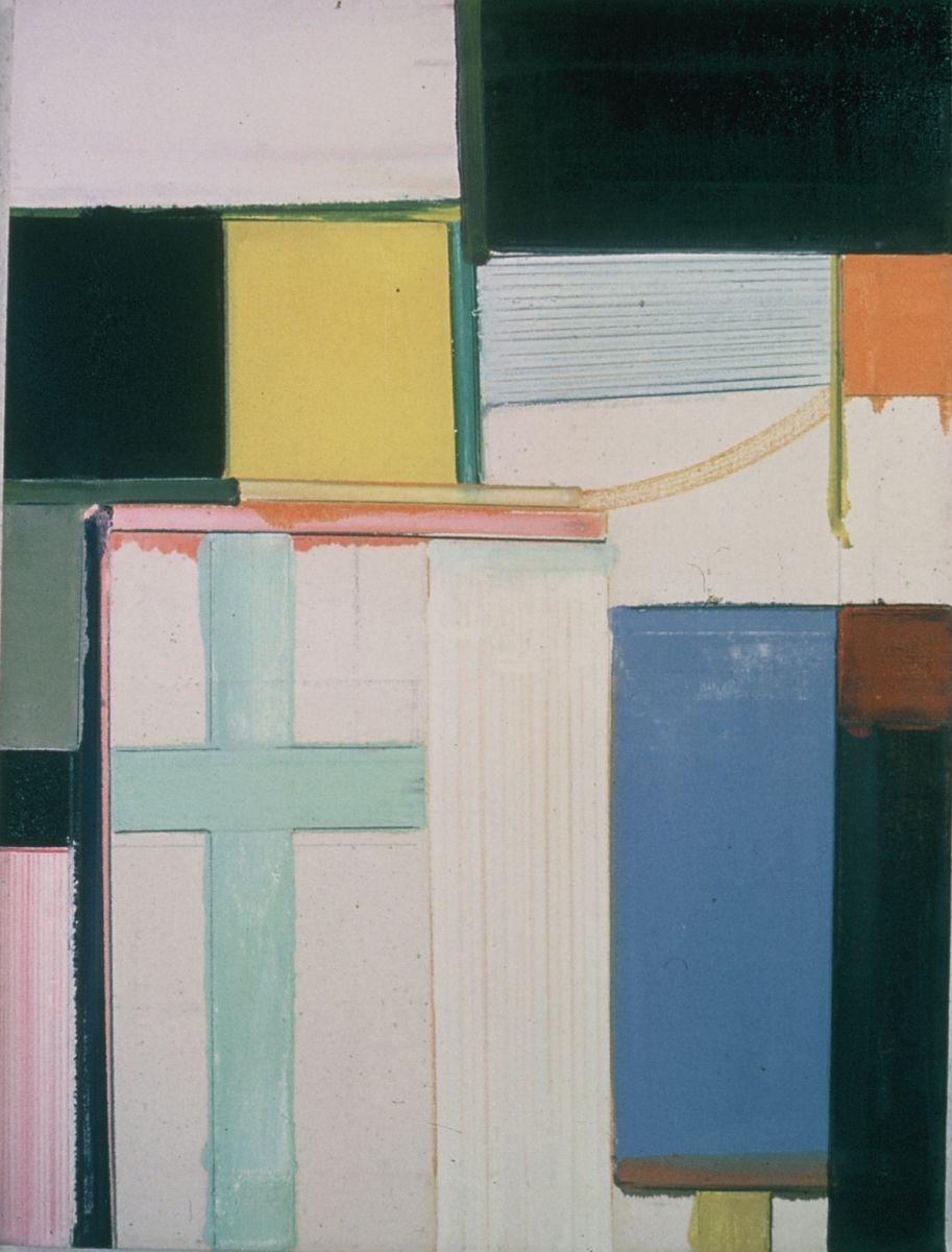 "PATCHWORK 1977 Berkeley 24 x 18"" ,  oil on rhoplex sized canvas"