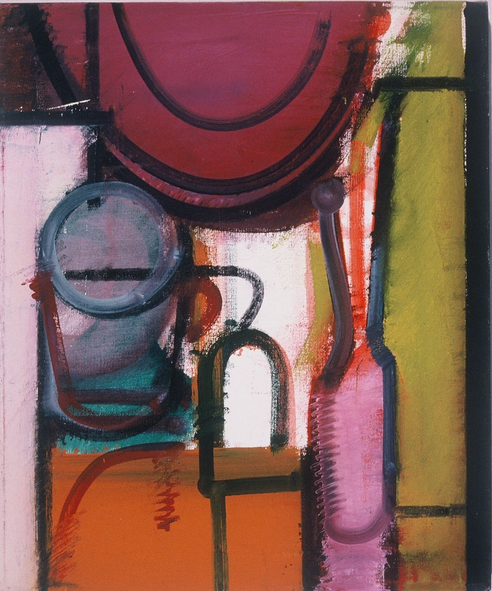 "STILL LIFE w CUP and BOTTLES 1972  Berkeley24 x 20""   , oil on canvas"