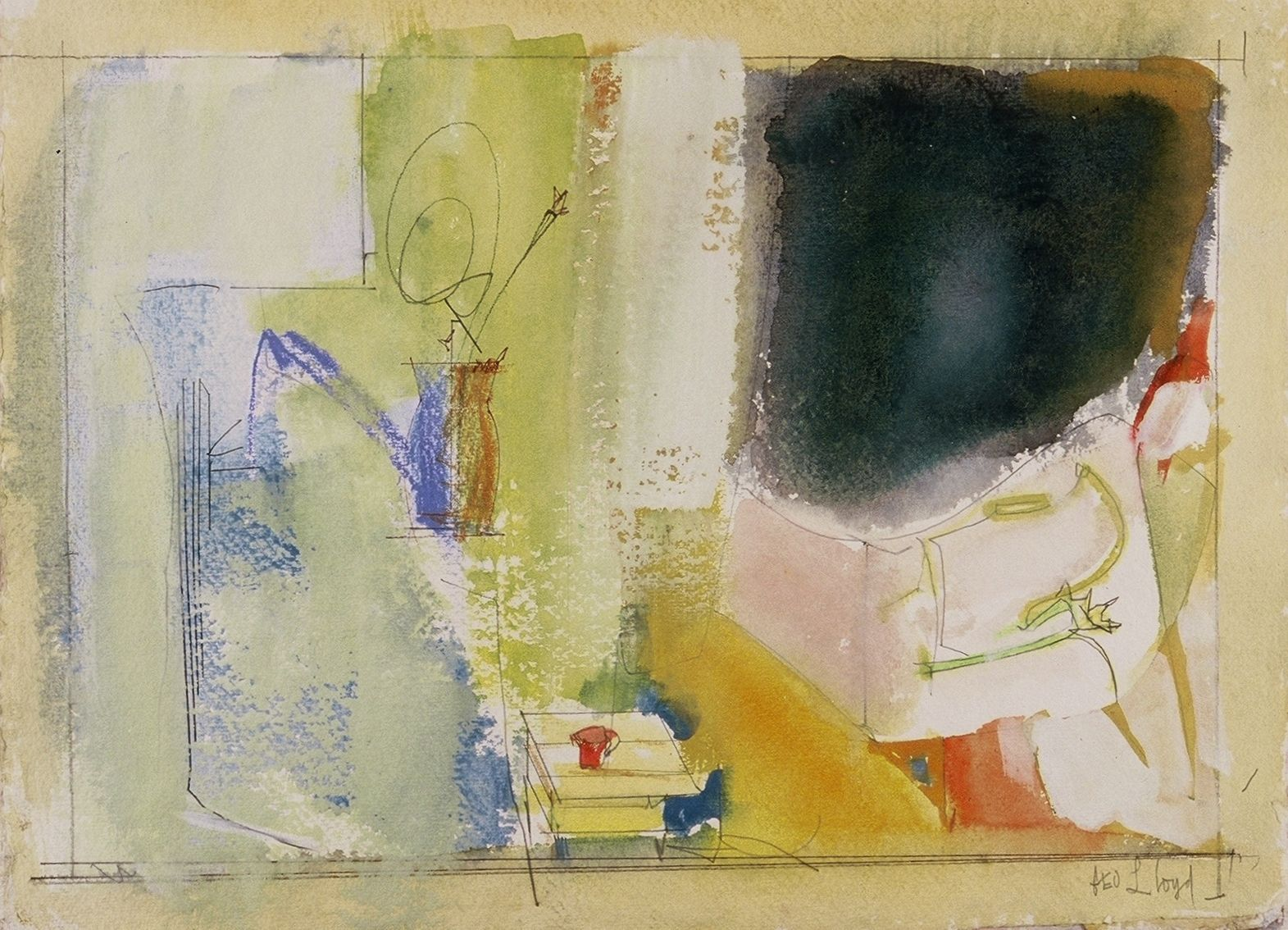 "DIVIDED COMPOSITION w VASE and TABLE   2005 11 x 15 ""   ,   watercolor on paper"
