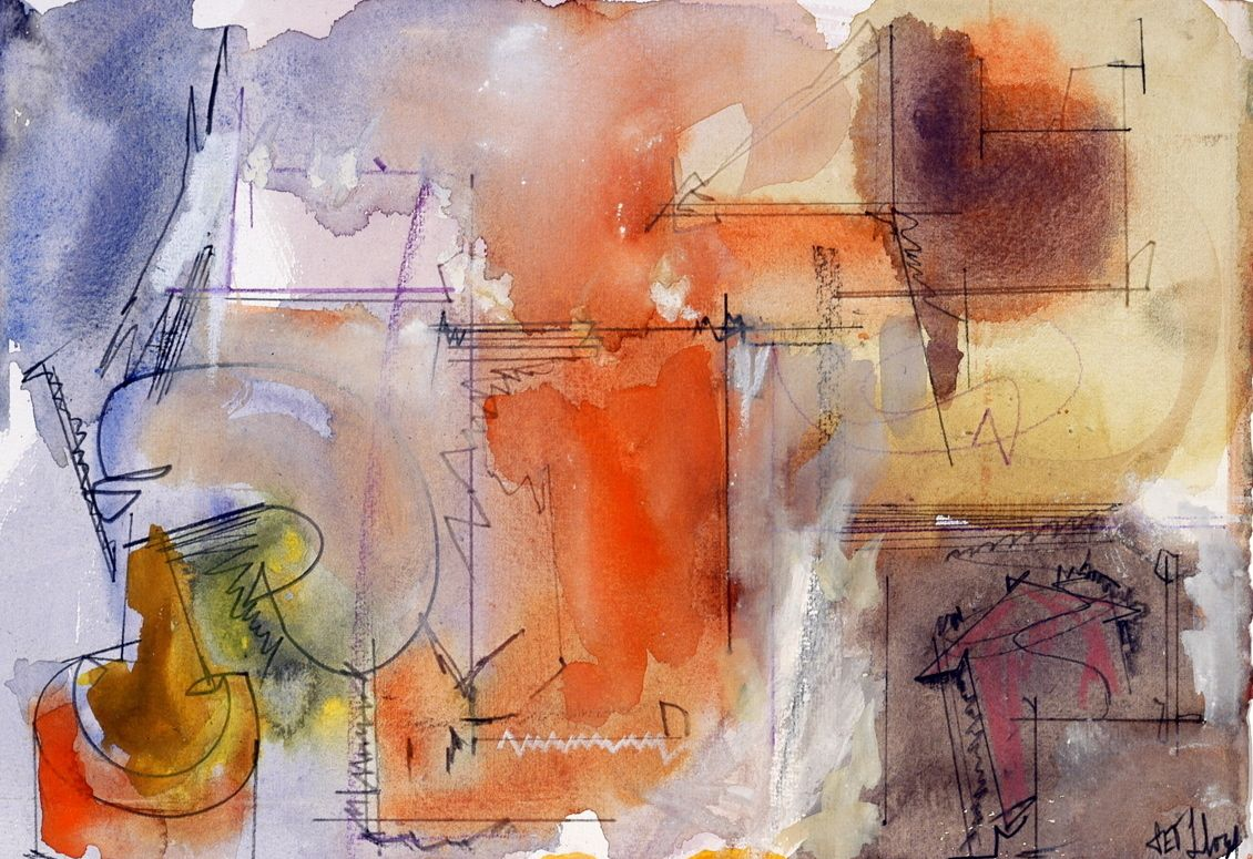 "Composition w INKWELL   2004 7 x 10""    , watercolor on paper"