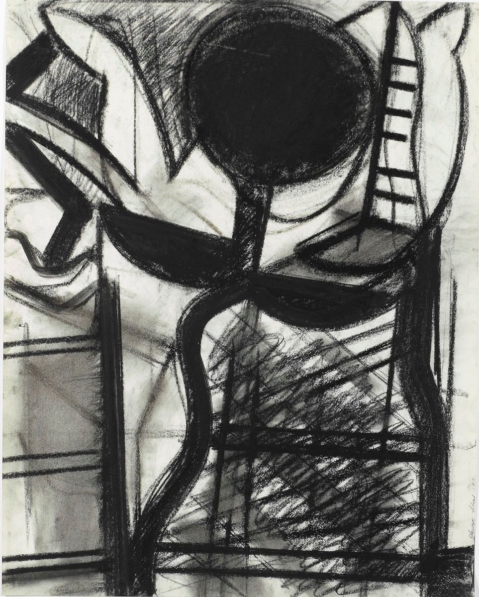 "DANCING CIPHER  1971 Berkeley 24 x 19""  , charcoal on paper"