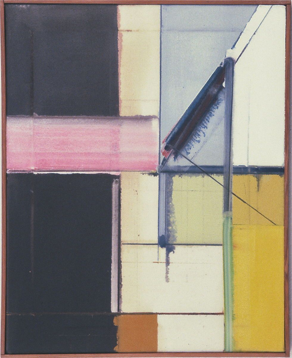 """DIVIDED COMPOSITION   1977   Berkeley20 x 16""""   ,    oil on canvas"""
