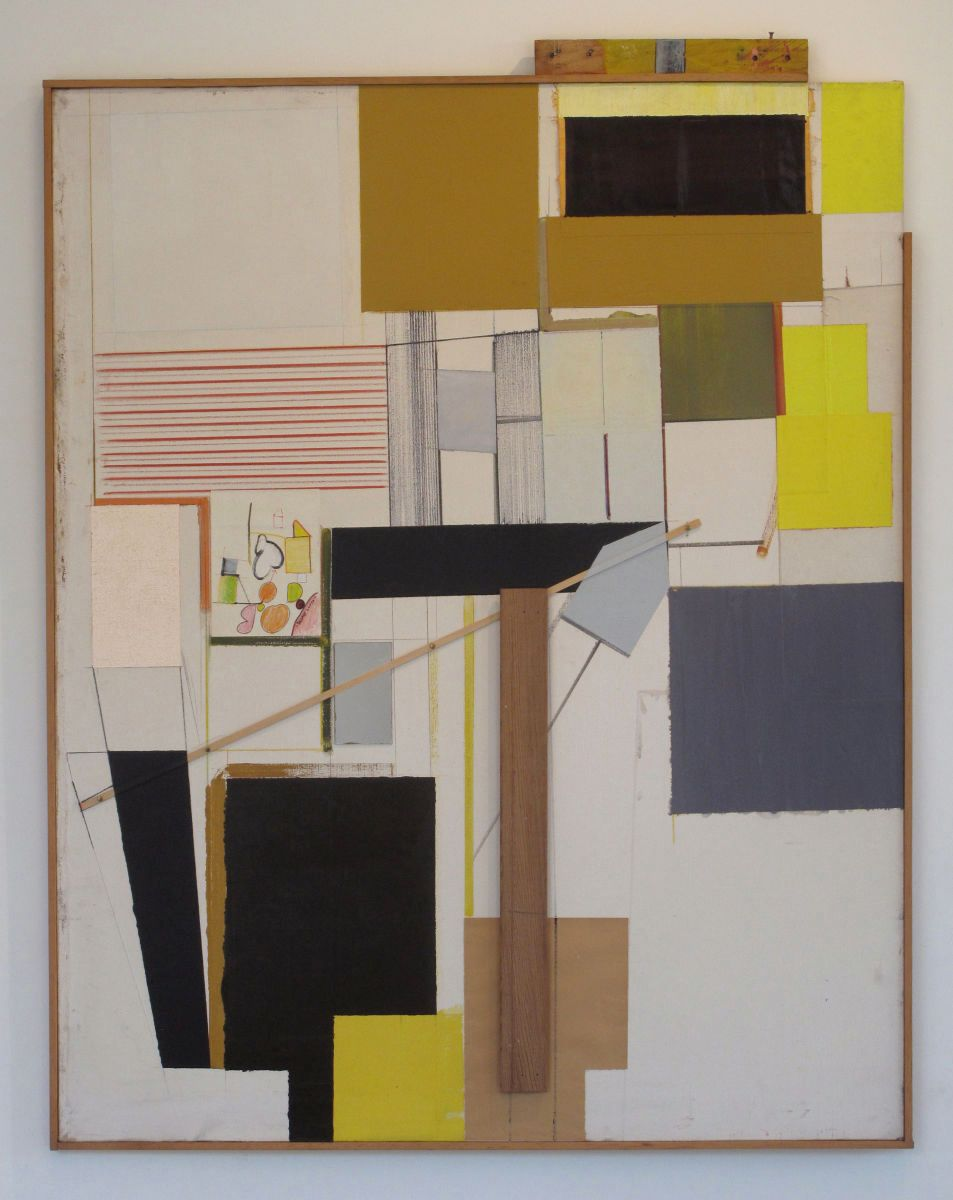 "MANDALAY 1978 Berkeley 57 x 46"" acrylic and assemblage on found canvas"