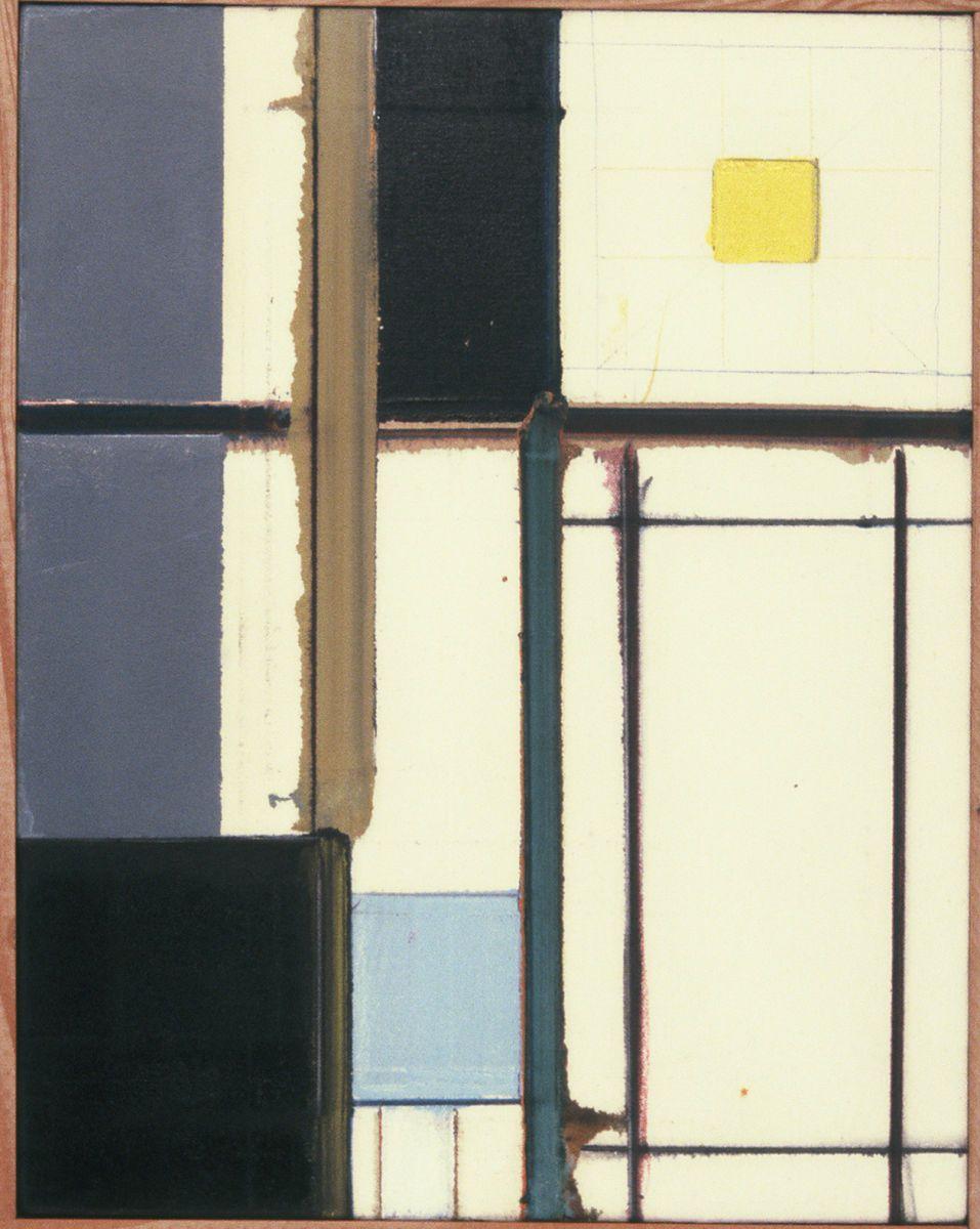 """INTERIOR  VIEW    1977    Berkeley    18 x 14   """" oil on Rhoplex sized canvas [ ie sans ground ]"""