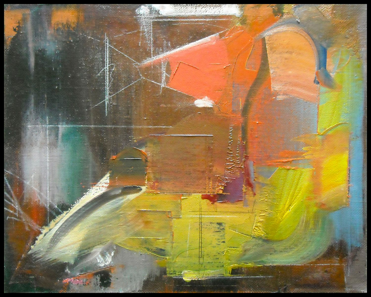 "Composition w PUTTO    2003 Rome 16 x 20""  , oil on canvas"
