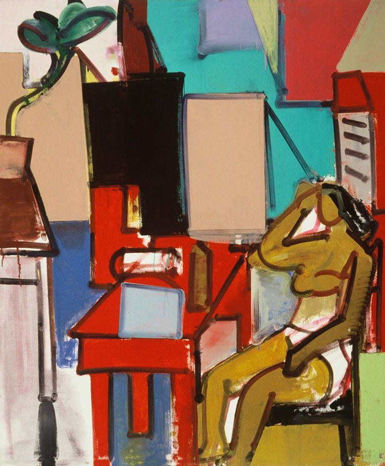 INTERIOR w WOMAN SEATED at RED TABLE 1973 Berkeley