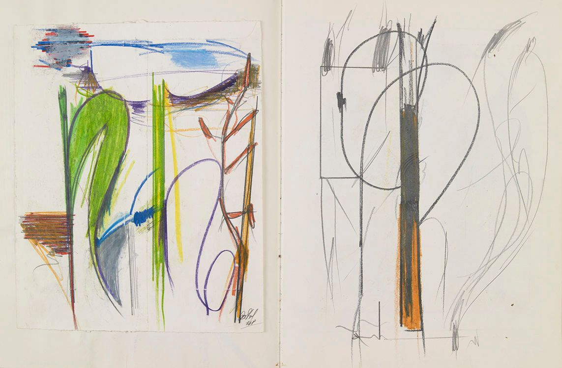 from L to R  pages  45A  , a LANDSCAPE , and 45B   , a PLANT STALK
