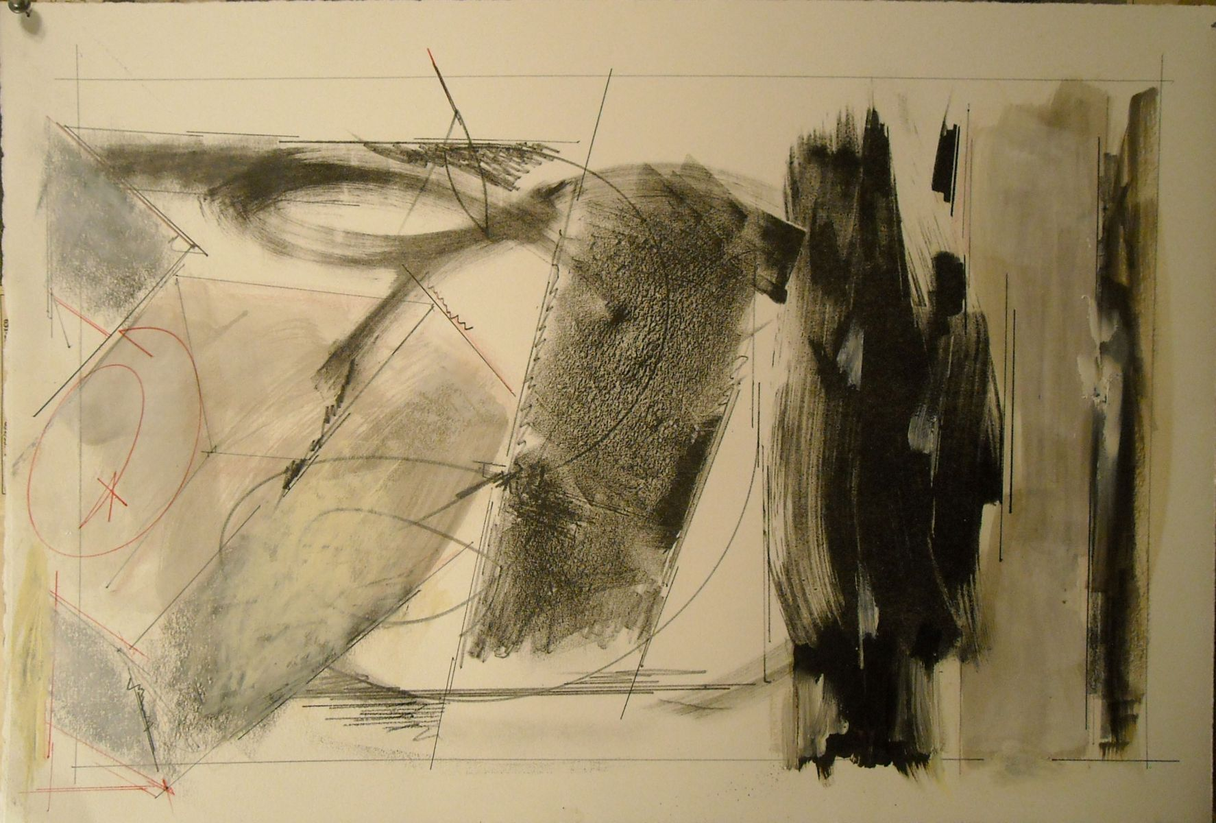 "Compostion w BOX    201315 x 22"" hand altered lithograph , ie oil, crayon etc on lithographic print"