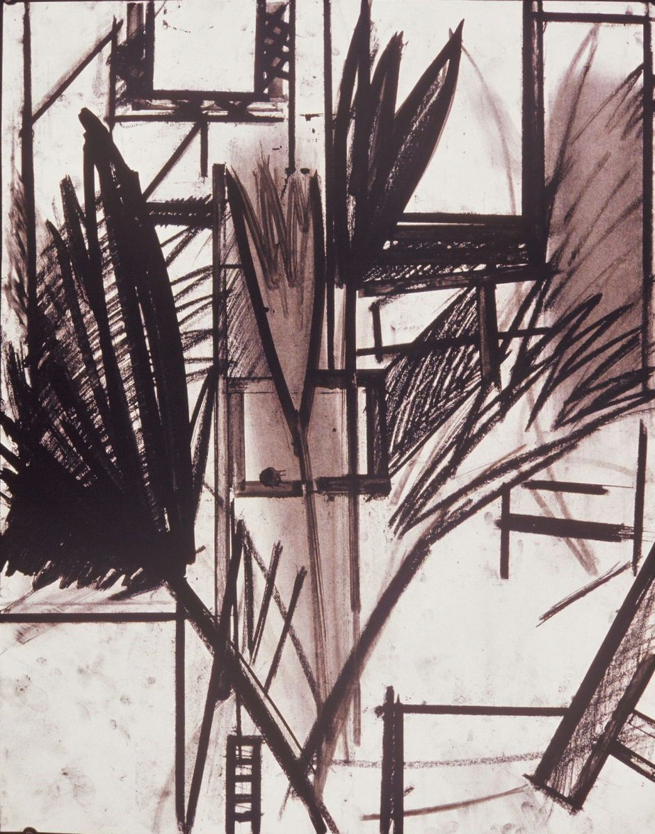 "Composition w PALM TREE #3   Berkeley24 x 19""  , charcoal and ink on paper private collection"