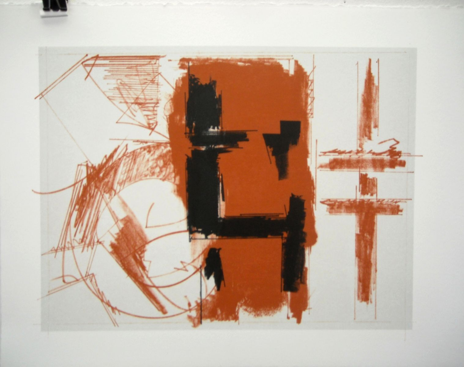 "FIGURE of OUTWARD for CO i 2013 12 x 15"" 3 color lithograph / Tim HIGBEE , printer note : CO = Charles Olson , poet of Gloucester"