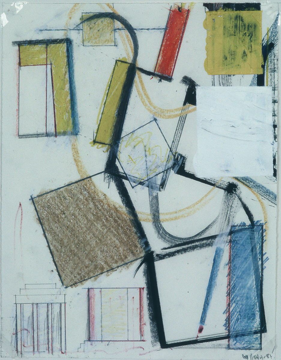 """ROCKING  CONSTRUCT   14 x 11 """" , various media on paper"""