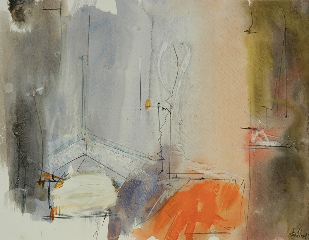"GRAY INTERIOR 2002 9 x 12""   , watercolor etc on paper"