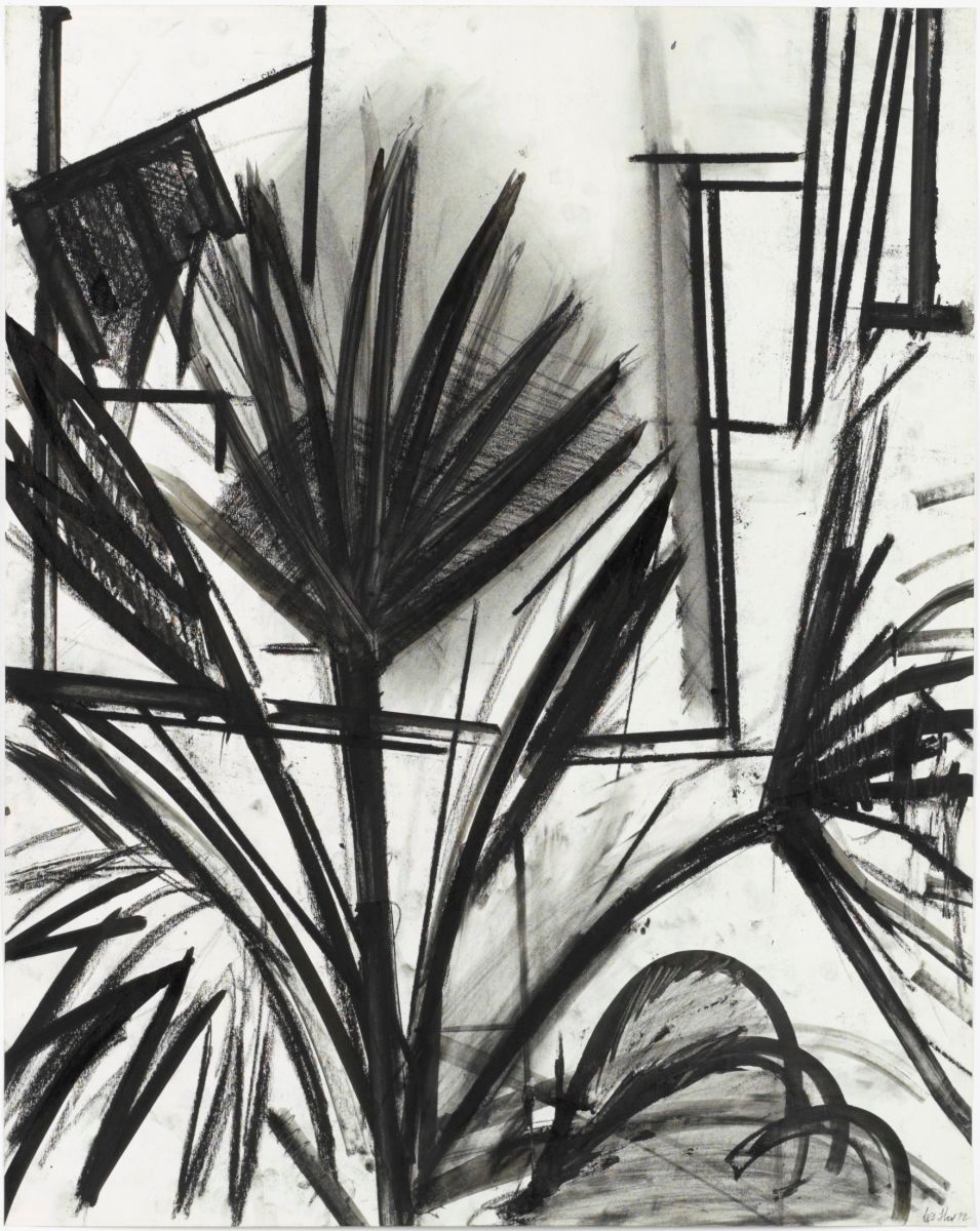 "Composition w PALM TREE #4   1972   Berkeley24 x 19""  , charcoal and ink on paper private collection"
