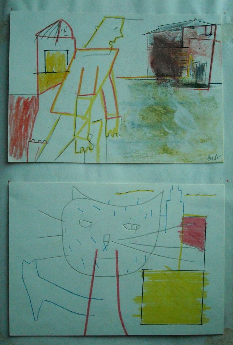 EXASPERATED FIGURE w Female Companion  and  HOUSE    CAT  [ BOUBOULINA ]       1979    SF CA     from sketchbk page  approx size 14 x 11""