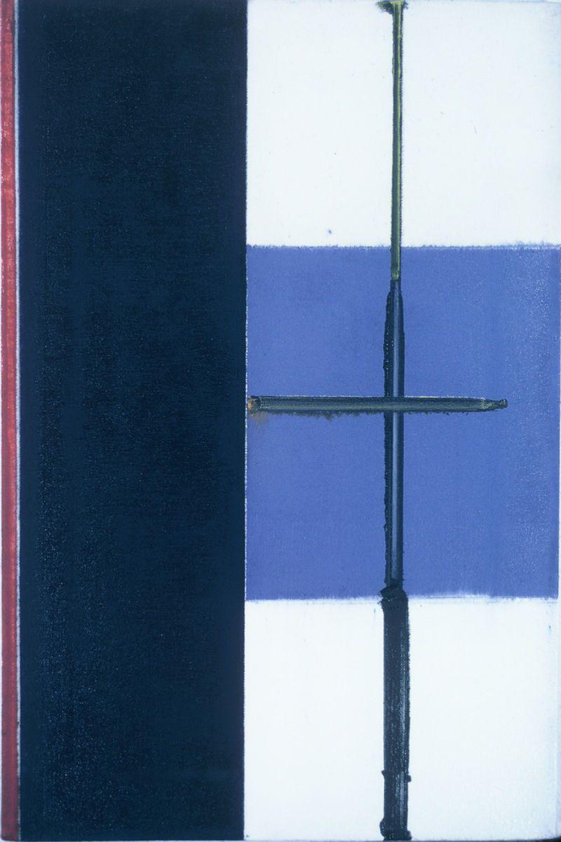 "BLUE DIVIDE    1976 Berkeley    18 x 12""     , oil on canvas"