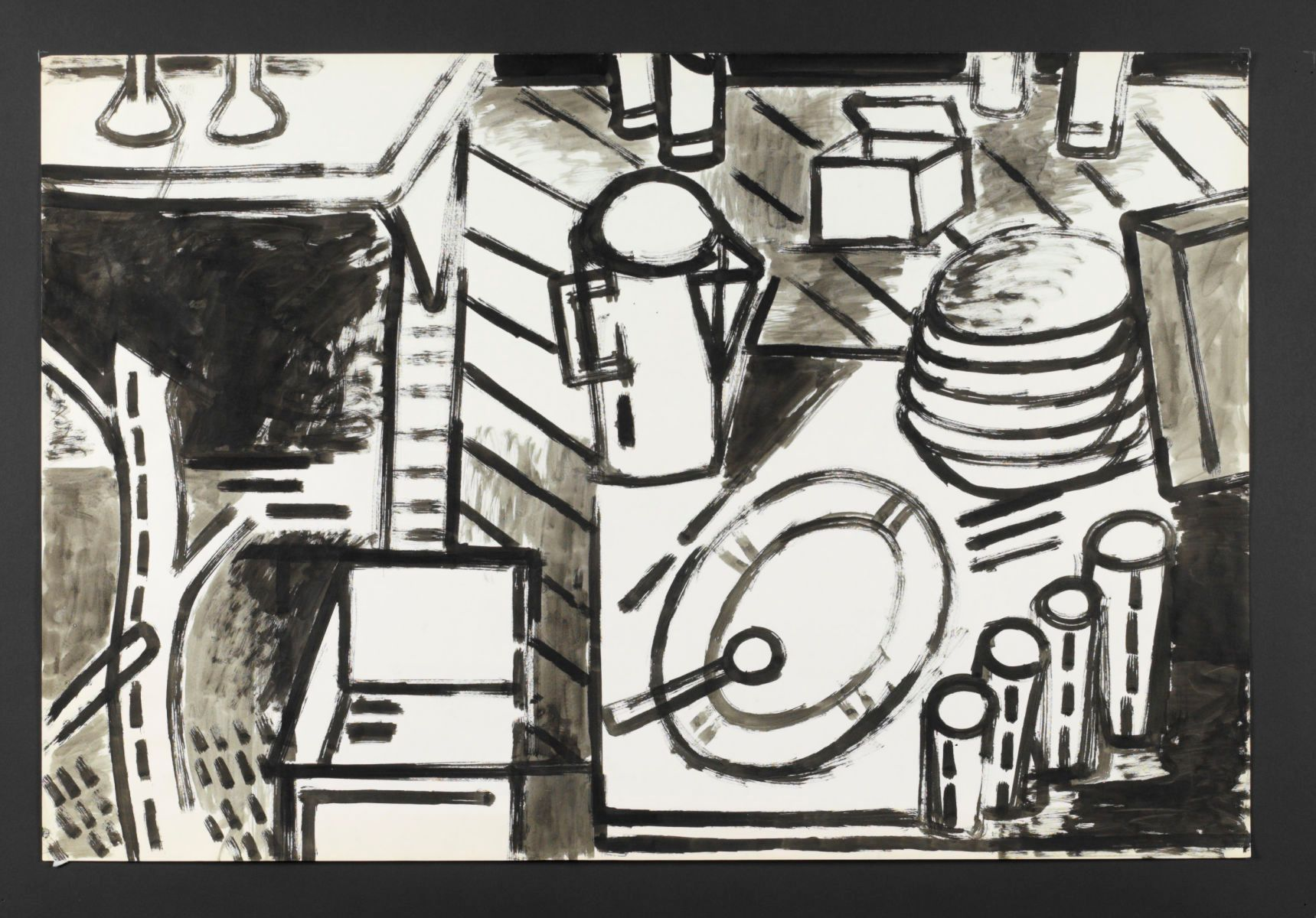 "STILL LIFE w DIRTY DISHES   1973   Berkeley24 x 36""   , ink on paper"