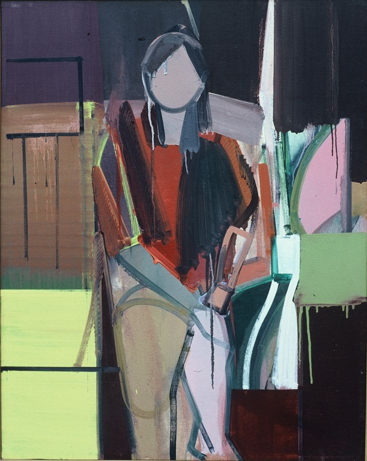 "Composition w Sitting Woman 1974 Berkeley 49 x 39"" , oil on canvas"