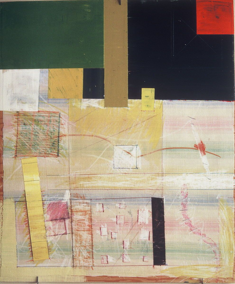 """SECTIONAL VIEW  at 585 MISSION   ST   1981      San Francisco 24 x 20""""    , acrylic etc on muslin [ old bedsheet]   affixed to plywood panel"""