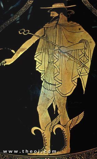 image of HERMES on Greek VASE