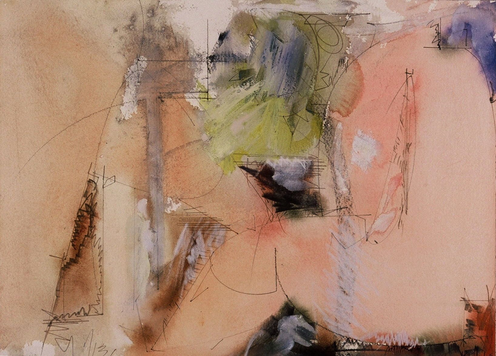 "ARCADIAN FIGURES    2005 10 1/8  x 14 1/8   ""     , watercolor etc on ARCHES paper"