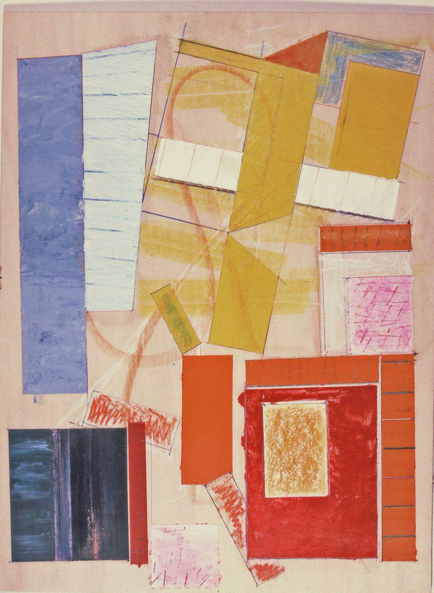 "Composition  w FLYING FIGURE    1981  San Francisco  24 x 18""  ,      acrylic etc on wd panel"