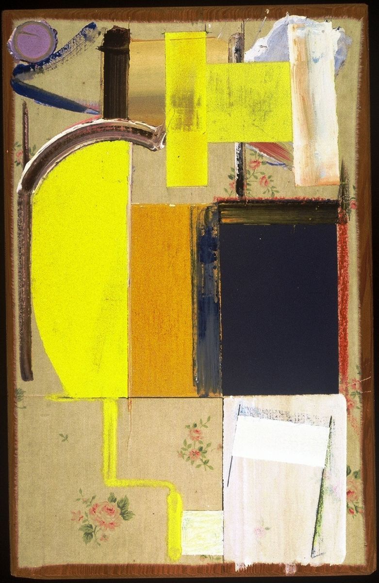 """Composition w CRESCENT     1980    San Francisco 18.5 x 12"""" ,   acrylic on muslin [ old bedsheet ] affixed to plywood"""