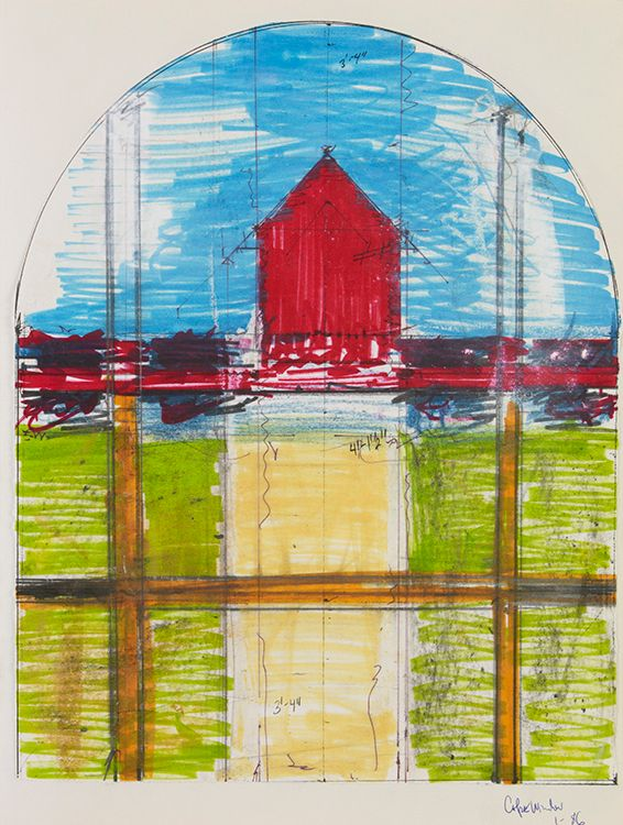 Page 47 :   STUDY for WINDOW PROJECT 1986 Portland with HOUSE and ROAD motif in color