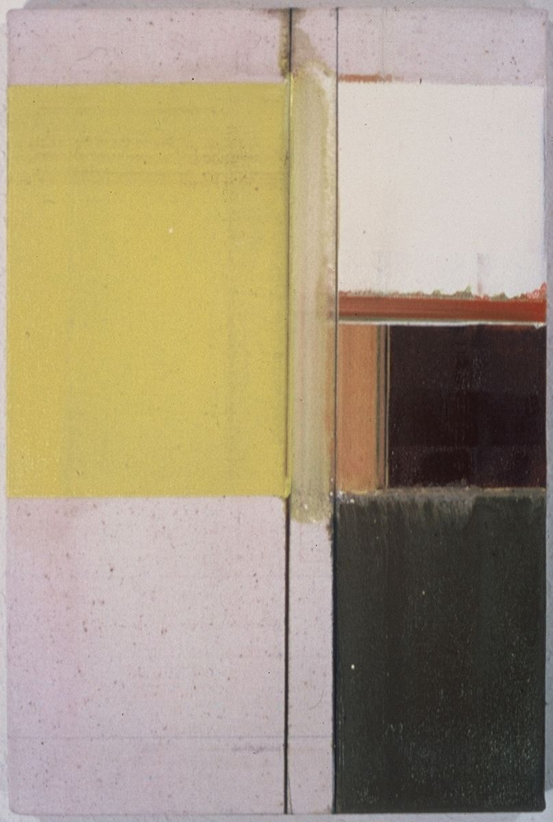 """Composition w  RECTANGLES    1976   Berkeley  ,   18x12""""  ,            oil on rhoplex sized canvas"""