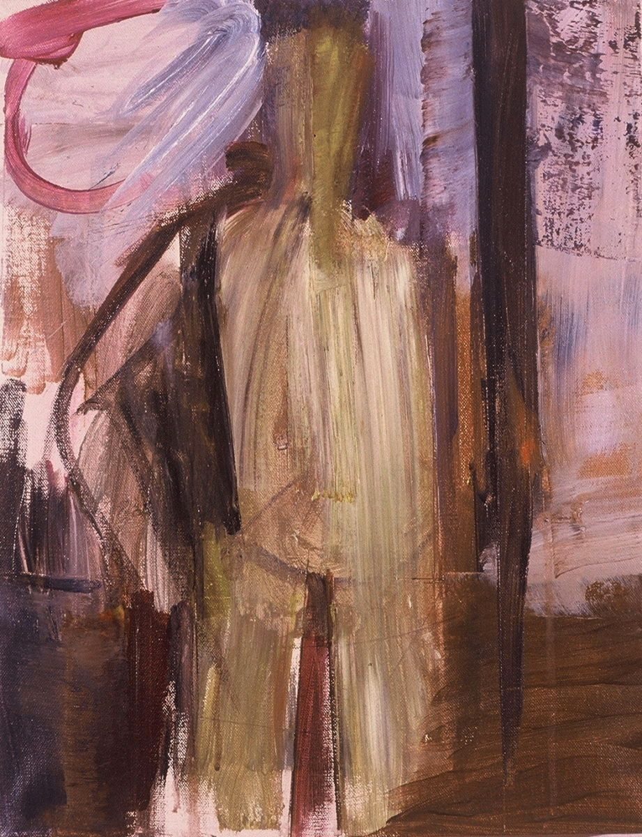 "STANDING SELF PORTRAIT 1986  Portland 18 x 14"" , acrylic on canvas"