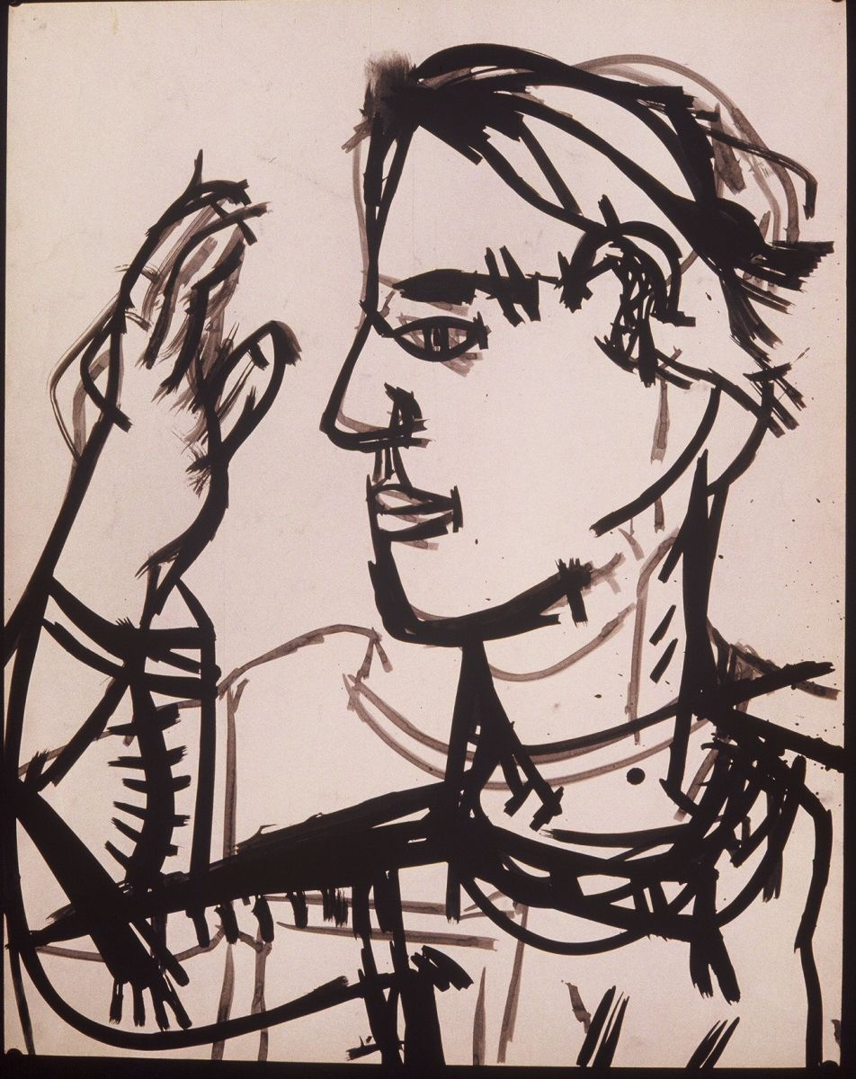 "SELF PORTRAIT as SCULPTOR   1971    Berkeley  , 28 x 22"",  ink on paper"