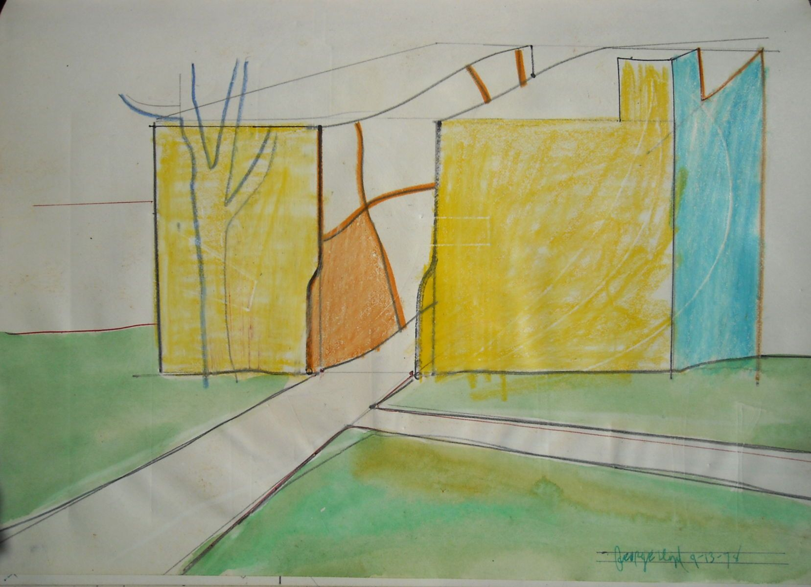 Campus BUILDING w a PATH through IT   1978 Berkeley warecolor , crayon and other media on paper