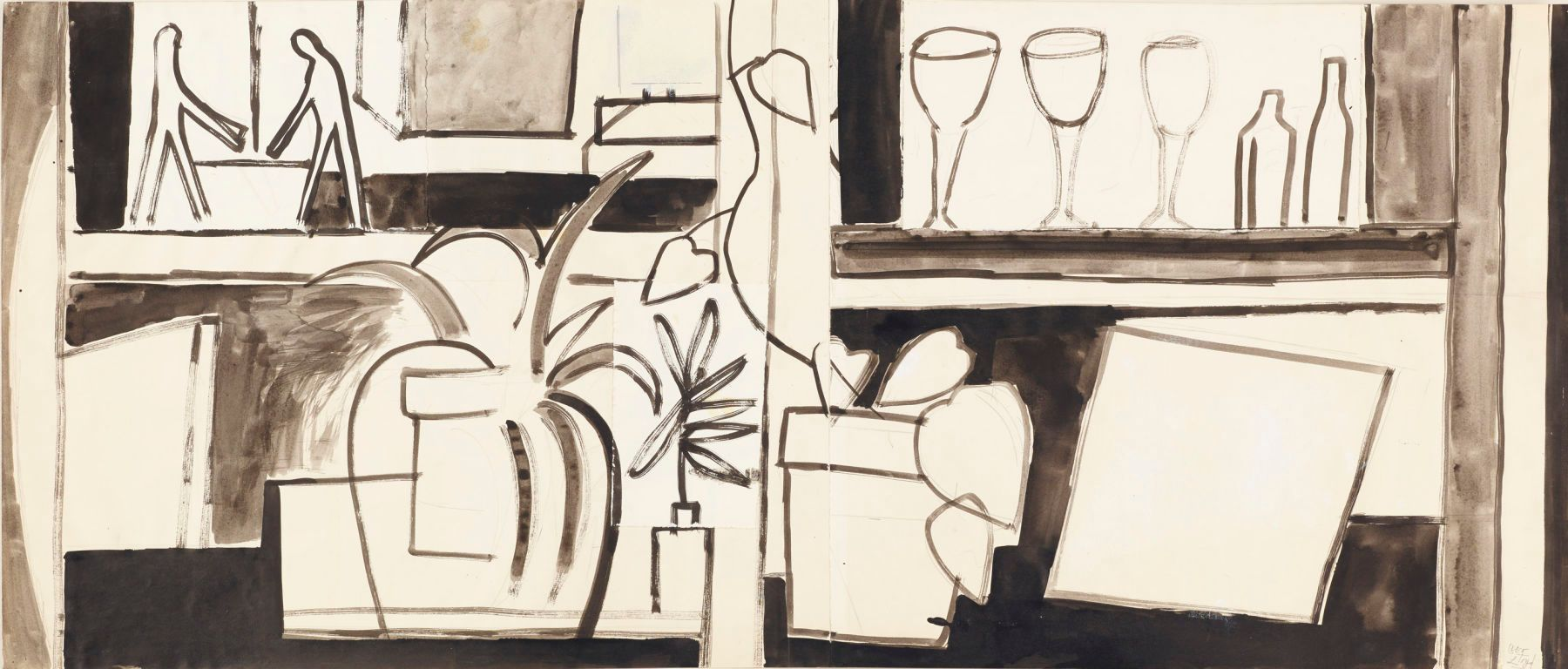 "SHATTUCK AVENUE STILL LIFE   1974  Berkeley  19 x 45""     , ink on paper"