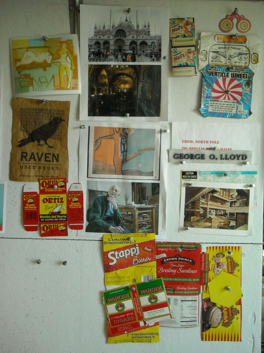 STUDIO WALL w POSTINGS   @    DRAFTING TABLE